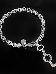 "Fashion Noble ""KEY "" CZ Stone 925 Silver Party Chain & Link Bracelets For Woman&Lady"