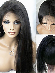 "10""-24"" Brazilian Virgin Hair Natural Black Silky Straight Full Lace Wig No Shedding Tangle Free Human Hair Wigs"