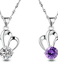 Crown Princess Charm Sterling Silver Pendant Necklace