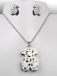 aço titânio moda europeus e americanos urso de prata set brincos cz colar
