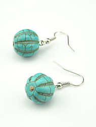 Vintage Look Antique Silver Plated Turquoise Stone Beads Flower Drop Dangle Earring(1Pair)