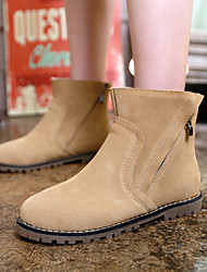 Women's Shoes Suede Flat Heel Fashion Boots / Combat Boots Boots Party & Evening / Dress / With velvet warm boots