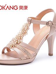 sandálias de couro das mulheres aokang® - 132811410