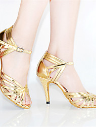 Customizable Women's Dance Shoes Leather Leather Latin Heels Stiletto Heel Indoor Gold