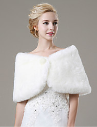 Fur Wraps / Wedding  Wraps Shawls Sleeveless Faux Fur Ivory Wedding / Party/Evening / Casual Pearls Hidden Clasp