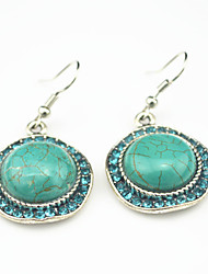 Vintage Look Antique Silver Plated Turquoise Stone with Crystal Cz Drop Dangle Earring(1Pair)