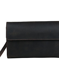 Unisex Cowhide Baguette Clutch / Evening Bag / Wristlet / Handbag / Checkbook Wallet - Dark Brown