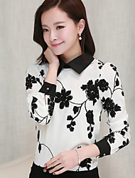 Women's Print White Blouse , Shirt Collar Long Sleeve