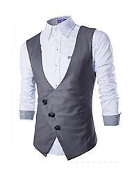 Men's Sleeveless Vest , Canvas / Cotton Casual Pure
