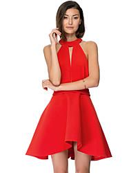 Fashion Women's Slim Sexy Backless Splice A-Word Tutu Dress Red  Sleeveless Party Dresses