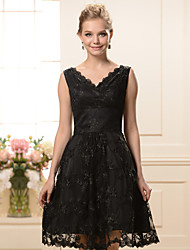 A-line Mother of the Bride Dress - Black Knee-length Lace / Satin