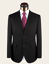 Suits Standard Fit Notch Single Breasted Two-buttons Wool Solid 2 Pieces Black