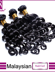 "3Pcs Lot 8""-30"" Malaysian Virgin Hair Nadi Curly Jet Black #1 Curl Human Hair Weave Bundles"