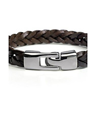 Men Bracelet European Style Brown Weave Leather Bracelet
