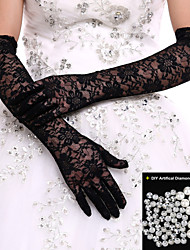 White/Black Lace Bridal Opera Length Gloves Wedding Glove for Events/Party Wedding Dress+DIY Pearls and Rhinestones