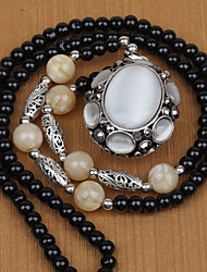 Women's National Style Oval opal agate Buddha bead Long Necklace