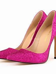 Women's Shoes Glitter Stiletto Heel Heels / Pointed Toe Heels Wedding / Party & Evening / Dress Black / Red / Silver