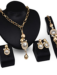 Collier / Boucles d'Oreille / Bracelet / Bague(Plaqué Or / Zircon Cubique / Imitation Perle)Vintage / SoiréepourFemme