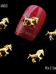 10pcs Golden Glitter Nail Alloy Metal Horse Shape Alloy 3D Nail Charms Nail Design Nail Accessories 8*11mm