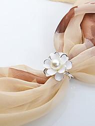 European Style Fashion Simple High-grade Imitation Pearls Fashion Camellia Scarf Buckle Brooch