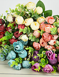 A Bunch Of 7 Fork  Polyester Roses Artificial Flowers