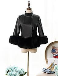 Women Faux Fur Top , Belt Not Included Fur Coat
