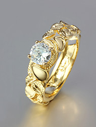 2015 Fashion Noble CZ Stone 18K Gold Plated Band Rings Wedding Party Rings For Woman