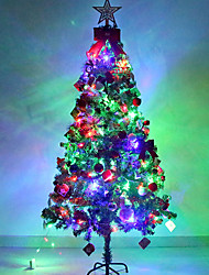 1.8m Plastic Christmas Tree Set With Led light Ornament Gift For Holiday Home Decoration