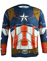 Arsuxeo Quick Dry Long Sleeve Casual Cycling Jersey Captain America