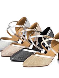 Women's Dance Shoes Satin Satin Modern Heels Stiletto Heel Indoor Black / Ivory / Silver / Gold Customizable