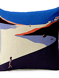 Seaside Pattern Cotton/Linen Decorative Pillow Cover