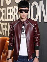 2015 Korean young men in autumn and winter men's leather collar detachable sleeve slim leather jacket coat tide