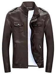 New Korean PU locomotive men's leather jacket slim pocket bag cover jacket youth male fashion tide