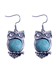 Vintage Style Turkey Blue Tophus Cute Owl Earring