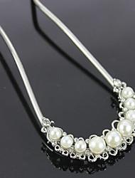 Rich Long Diamond Pearl Plated Flower Hair Clip