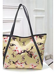 Donna Tote PU (Poliuretano) Per tutte le stagioni Shopping Casual Secchiello Cerniera Bianco Nero Giallo Blu Rosa