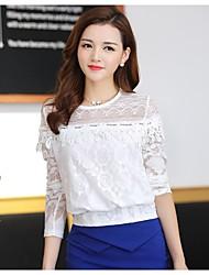 Spets Långärmad T-shirt Kvinnors Rund hals Polyester / Rayon