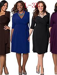 VIVI Women's Solid Color Multi-color plus size  Dresses , Sexy / Bodycon / Party V-Neck ½ Length Sleeve