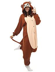 kigurumi Pyjamas Singe Collant/Combinaison Fête / Célébration Pyjamas Animale Halloween Blanc Mosaïque Polaire Kigurumi Pour Unisexe