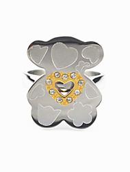 Fashion Stainless Steel Silver Love Heart CZ Crystal Teddy Bear Women Finger Ring Jewelry(1PC)