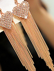 May Polly  Fashion diamond heart long Tassel Earrings