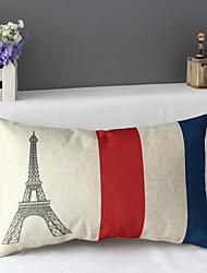 50cm*30cm France Cotton / Linen Cotton&linen Waist Pillow Cover / Throw Pillow With No Insert