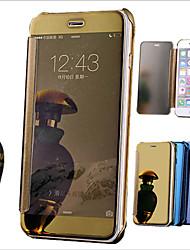Для Кейс для iPhone 6 / Кейс для iPhone 6 Plus Покрытие / Зеркальная поверхность / Флип Кейс для Чехол Кейс для Один цвет Твердый