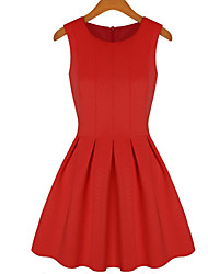 SIFU Women's Patchwork / Solid Color Red / Black Dresses , Party / Work Round Sleeveless