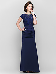 Lanting Trumpet/Mermaid Mother of the Bride Dress - Dark Navy Ankle-length Short Sleeve Lace / Jersey
