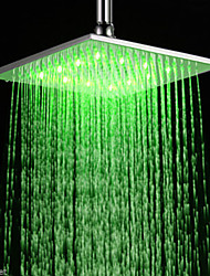 "16"" Inch RGB LED Light Stainless Steel Rainfall Rain Bathroom Shower Head"