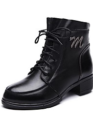 Women's Shoes Leather Chunky Heel Riding Boots / Fashion Boots Boots Outdoor / Office & Career / Casual Black / Burgundy