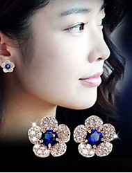 May Polly Stylish silver white background flower blue crystal full diamond exquisite Earrings