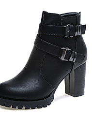 Women's Shoes Round Top Fashion British Style Leather Boots for Skirt/Leisure /party Offer Black/Gray