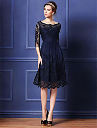 A-line Mother of the Bride Dress - Dark Navy Knee-length 3/4 Length Sleeve Lace / Polyester